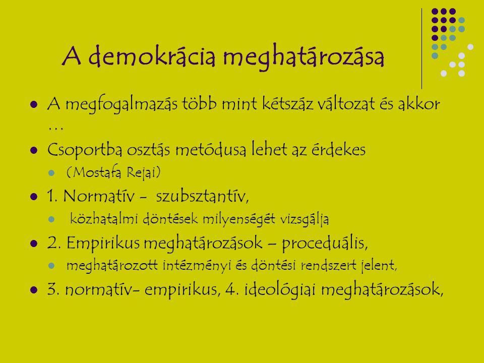 A demokrácia meghatározása A megfogalmazás több mint kétszáz változat és akkor … Csoportba osztás metódusa lehet az érdekes (Mostafa Rejai) 1. Normatí