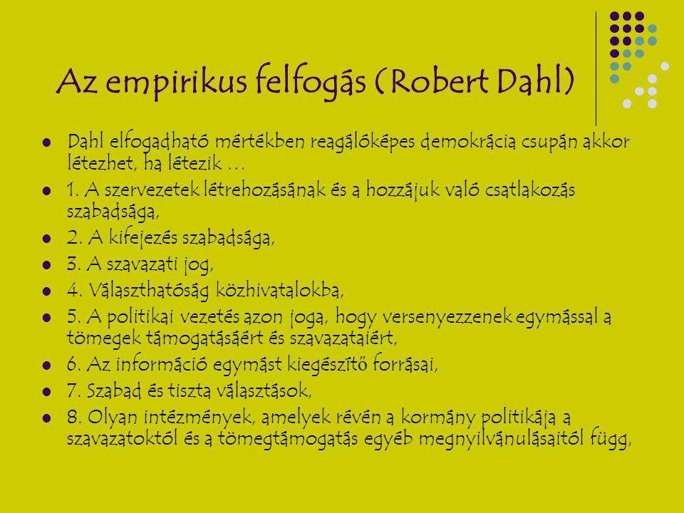 Az empirikus felfogás (Robert Dahl) Dahl elfogadható mértékben reagálóképes demokrácia csupán akkor létezhet, ha létezik … 1. A szervezetek létrehozás