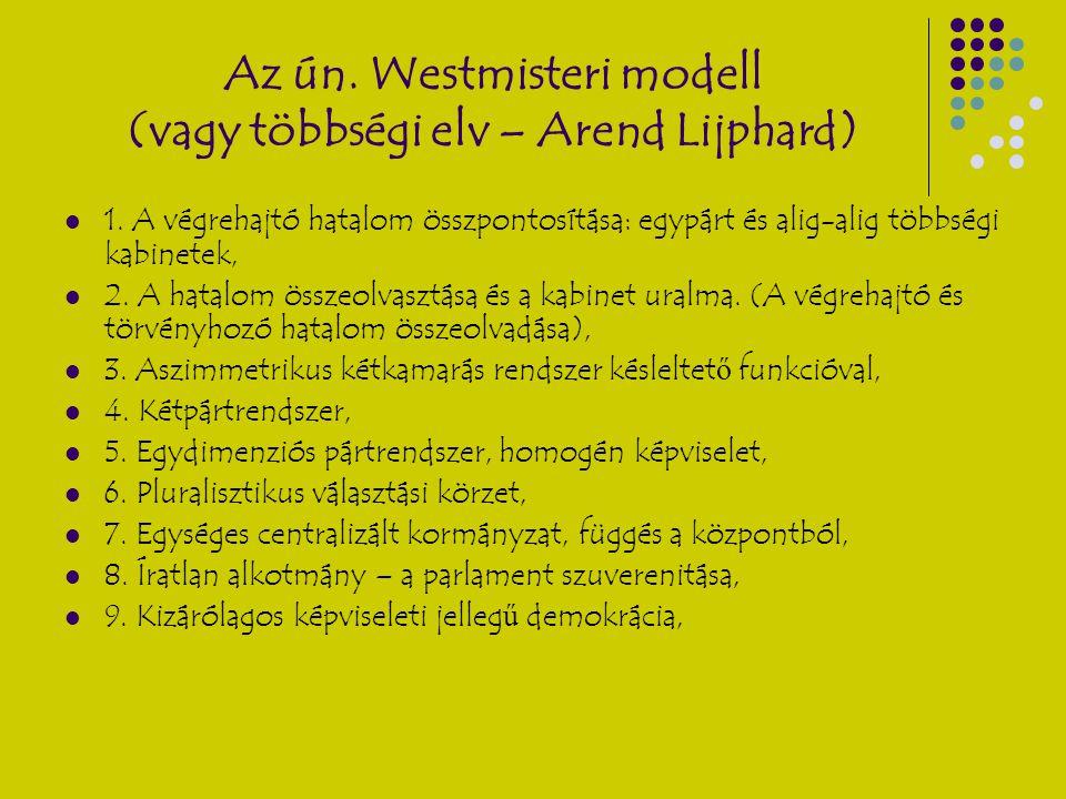 Az ún. Westmisteri modell (vagy többségi elv – Arend Lijphard) 1. A végrehajtó hatalom összpontosítása: egypárt és alig-alig többségi kabinetek, 2. A