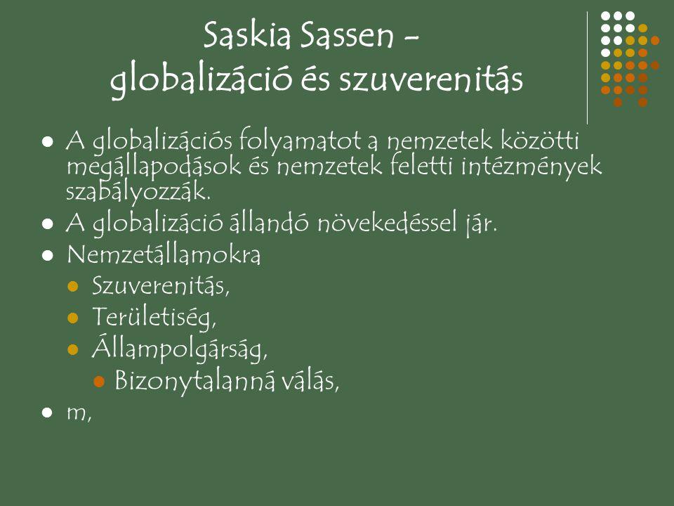 Saskia Sassen - globalizáció és szuverenitás A globalizációs folyamatot a nemzetek közötti megállapodások és nemzetek feletti intézmények szabályozzák