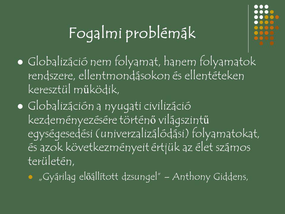 Fogalmi problémák Mind kezdete, mind hatása, mind érintettségi területe állandó viták tárgya, Globalizáció akkor lett fontos, amikor a hidegháború kiüresedett (1979-1991),