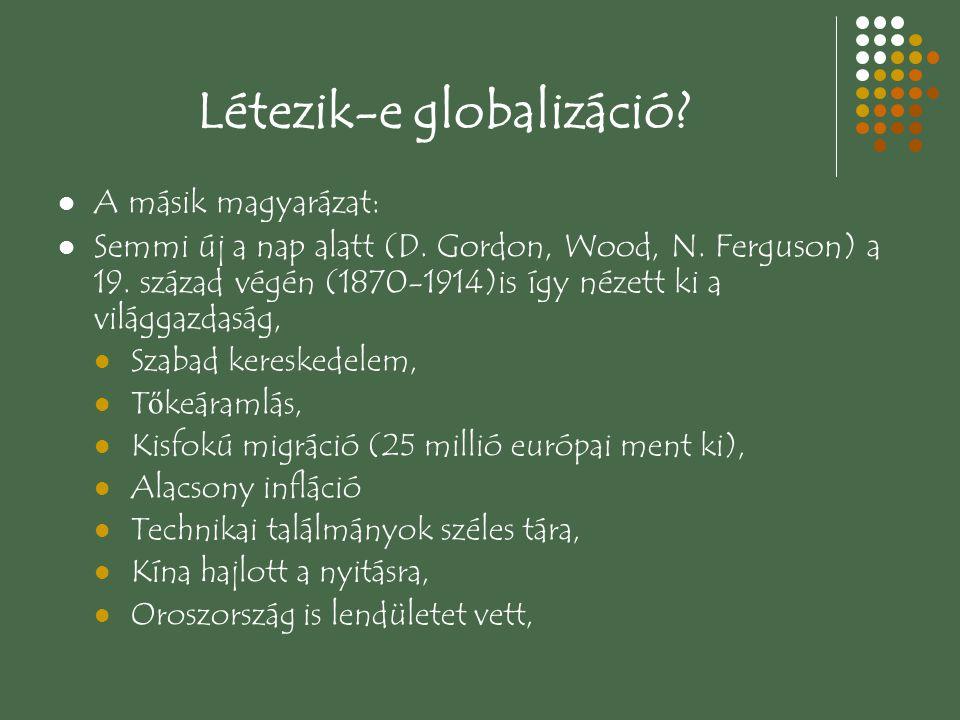 Létezik-e globalizáció? A másik magyarázat: Semmi új a nap alatt (D. Gordon, Wood, N. Ferguson) a 19. század végén (1870-1914)is így nézett ki a világ