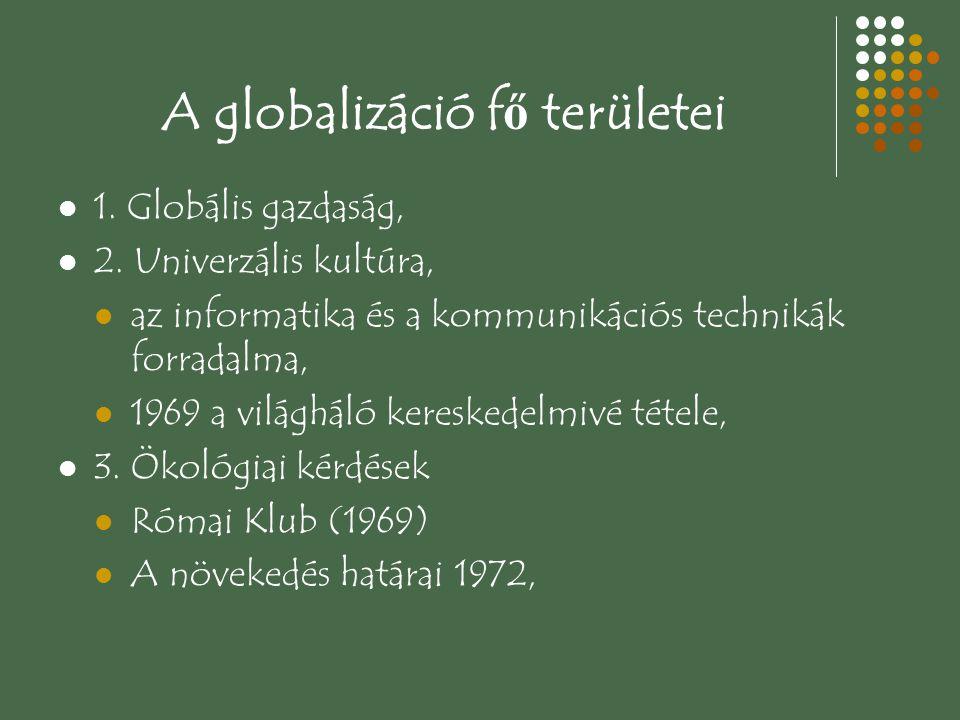 A globalizáció f ő területei 1. Globális gazdaság, 2. Univerzális kultúra, az informatika és a kommunikációs technikák forradalma, 1969 a világháló ke