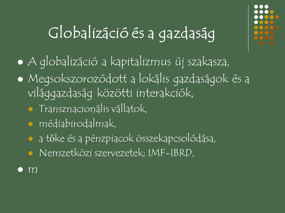 Gazdasági vetületei 1.Az integrált globális piacok számának növekedése, 2.