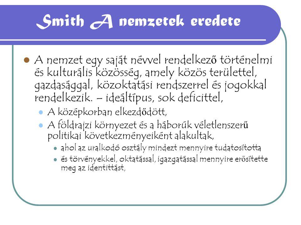 Smith A nemzetek eredete A nemzet egy saját névvel rendelkez ő történelmi és kulturális közösség, amely közös területtel, gazdasággal, közoktatási ren