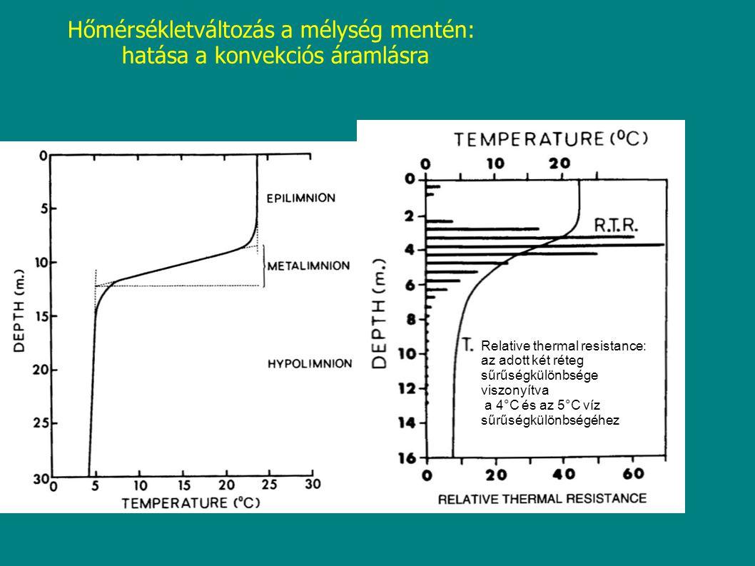 Hőmérsékletváltozás a mélység mentén: hatása a konvekciós áramlásra Relative thermal resistance: az adott két réteg sűrűségkülönbsége viszonyítva a 4°