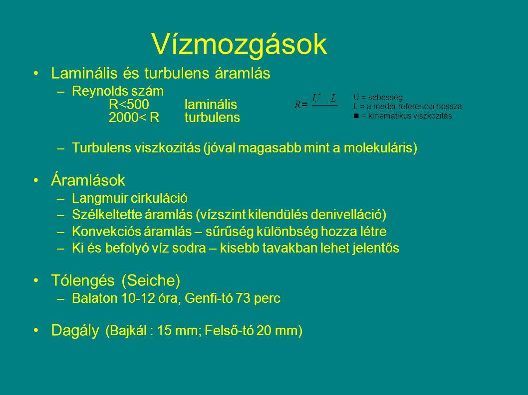 Laminális és turbulens áramlás –Reynolds szám R<500laminális 2000< Rturbulens –Turbulens viszkozitás (jóval magasabb mint a molekuláris) Áramlások –La