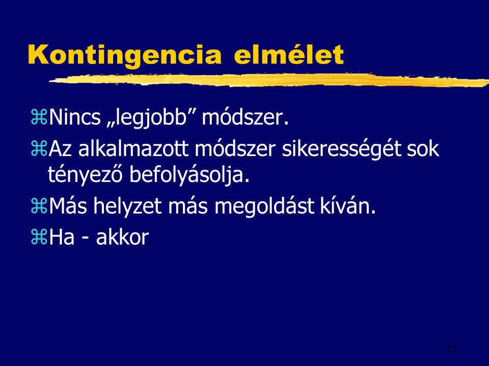 """17 Kontingencia elmélet zNincs """"legjobb"""" módszer. zAz alkalmazott módszer sikerességét sok tényező befolyásolja. zMás helyzet más megoldást kíván. zHa"""