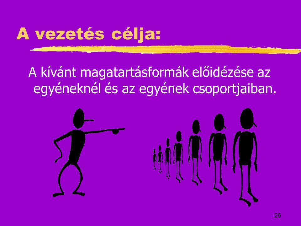 26 A vezetés célja: A kívánt magatartásformák előidézése az egyéneknél és az egyének csoportjaiban.