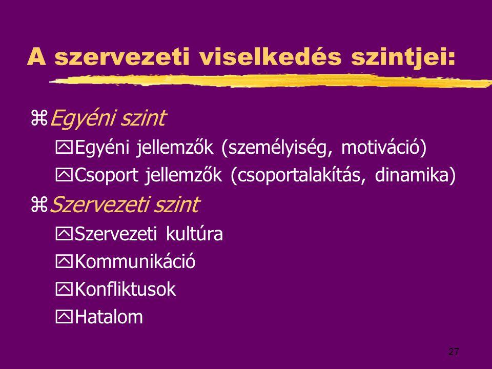 27 A szervezeti viselkedés szintjei: zEgyéni szint yEgyéni jellemzők (személyiség, motiváció) yCsoport jellemzők (csoportalakítás, dinamika) zSzerveze