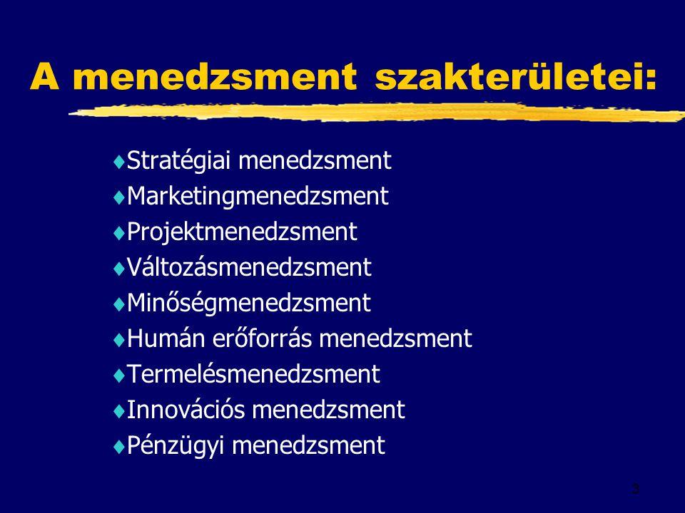 3 A menedzsment szakterületei:  Stratégiai menedzsment  Marketingmenedzsment  Projektmenedzsment  Változásmenedzsment  Minőségmenedzsment  Humán