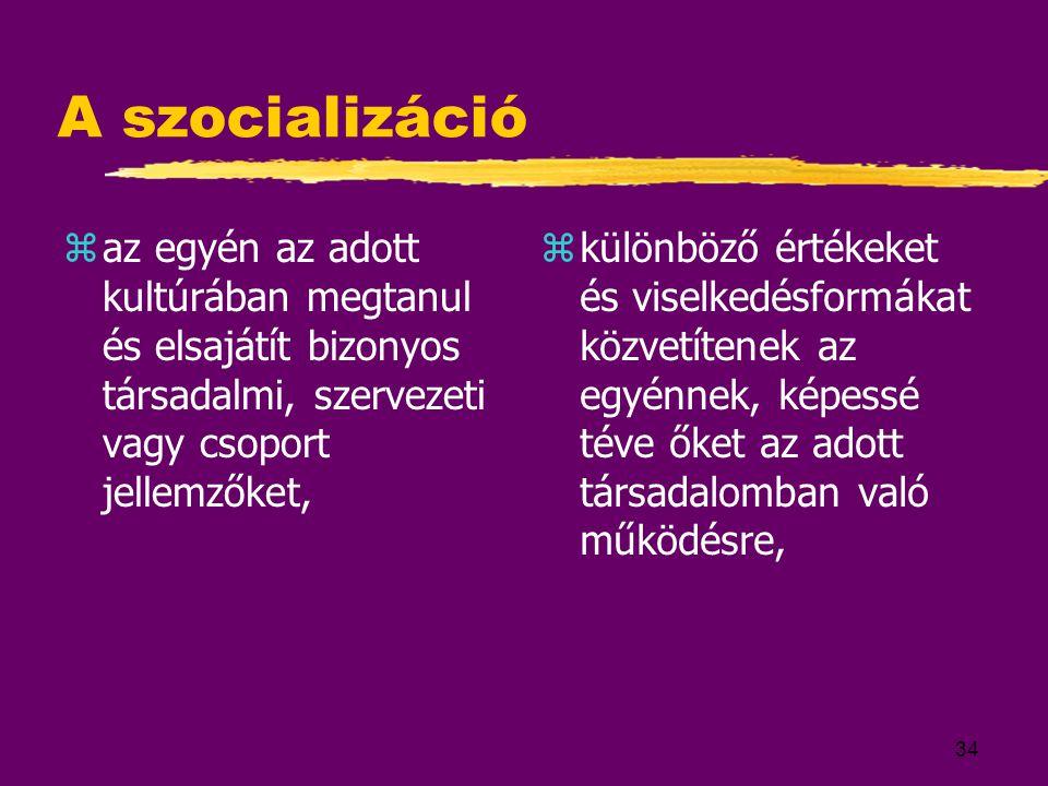 34 A szocializáció zaz egyén az adott kultúrában megtanul és elsajátít bizonyos társadalmi, szervezeti vagy csoport jellemzőket,  különböző értékeket