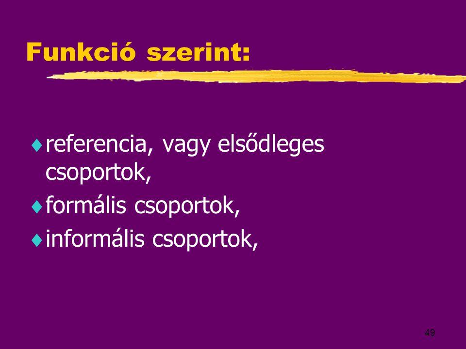 49 Funkció szerint:  referencia, vagy elsődleges csoportok,  formális csoportok,  informális csoportok,