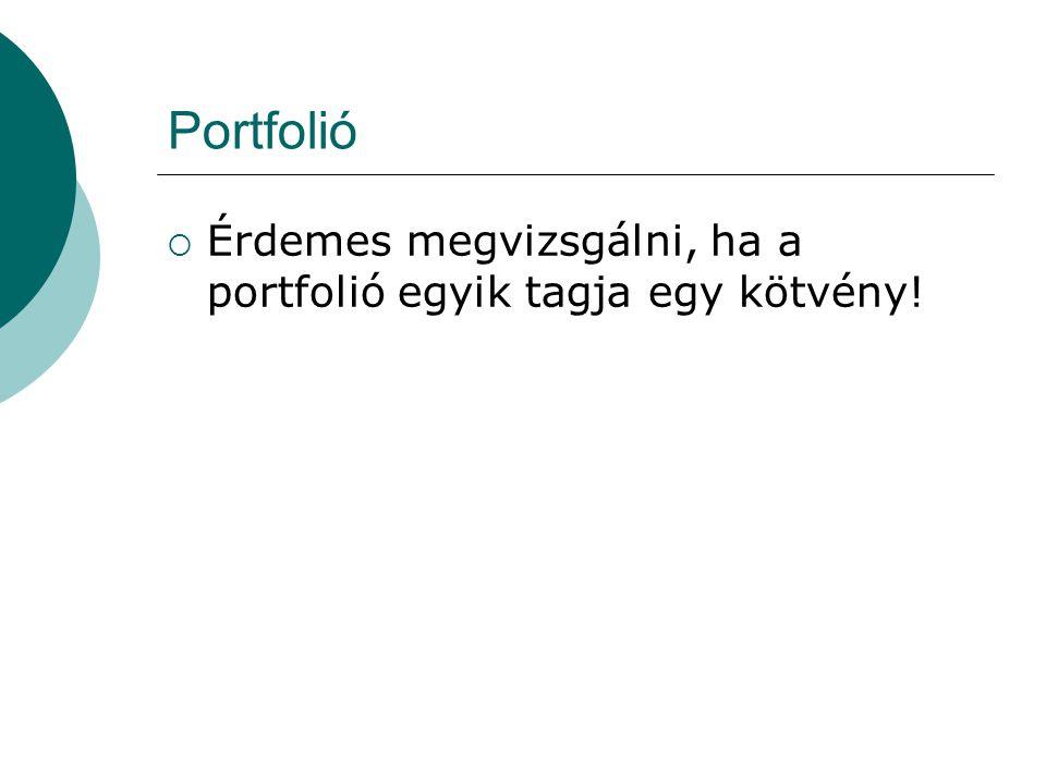 Portfolió  Érdemes megvizsgálni, ha a portfolió egyik tagja egy kötvény!