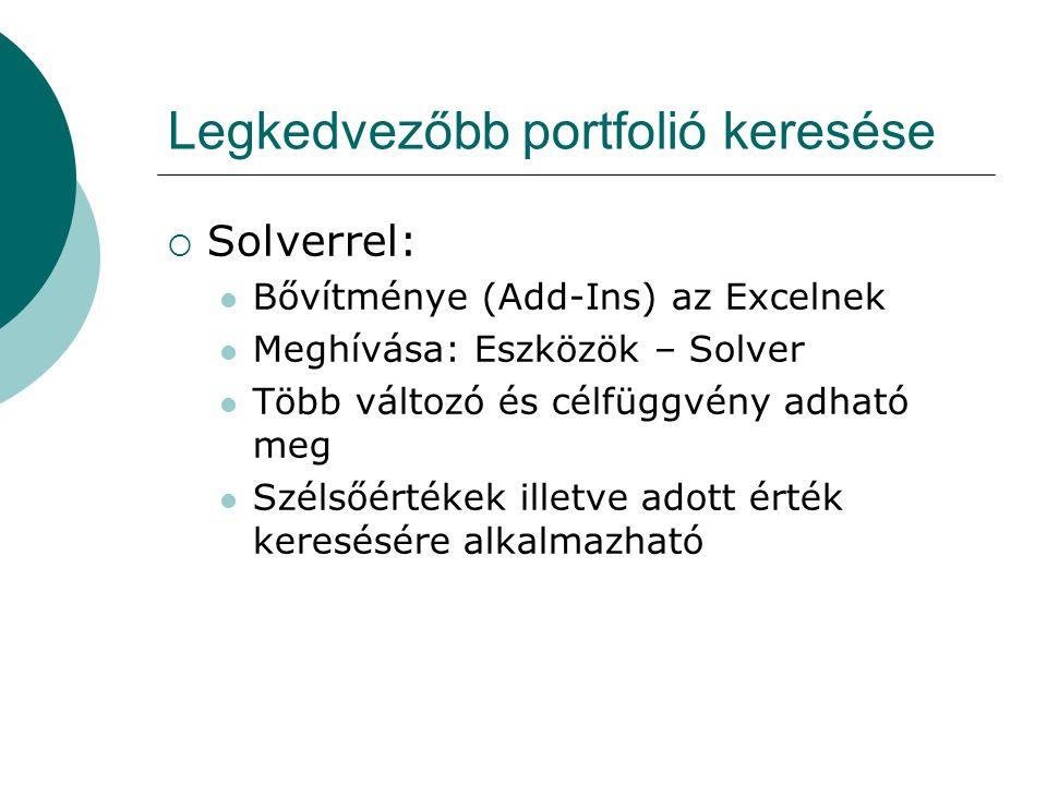 Legkedvezőbb portfolió keresése  Solverrel: Bővítménye (Add-Ins) az Excelnek Meghívása: Eszközök – Solver Több változó és célfüggvény adható meg Szélsőértékek illetve adott érték keresésére alkalmazható