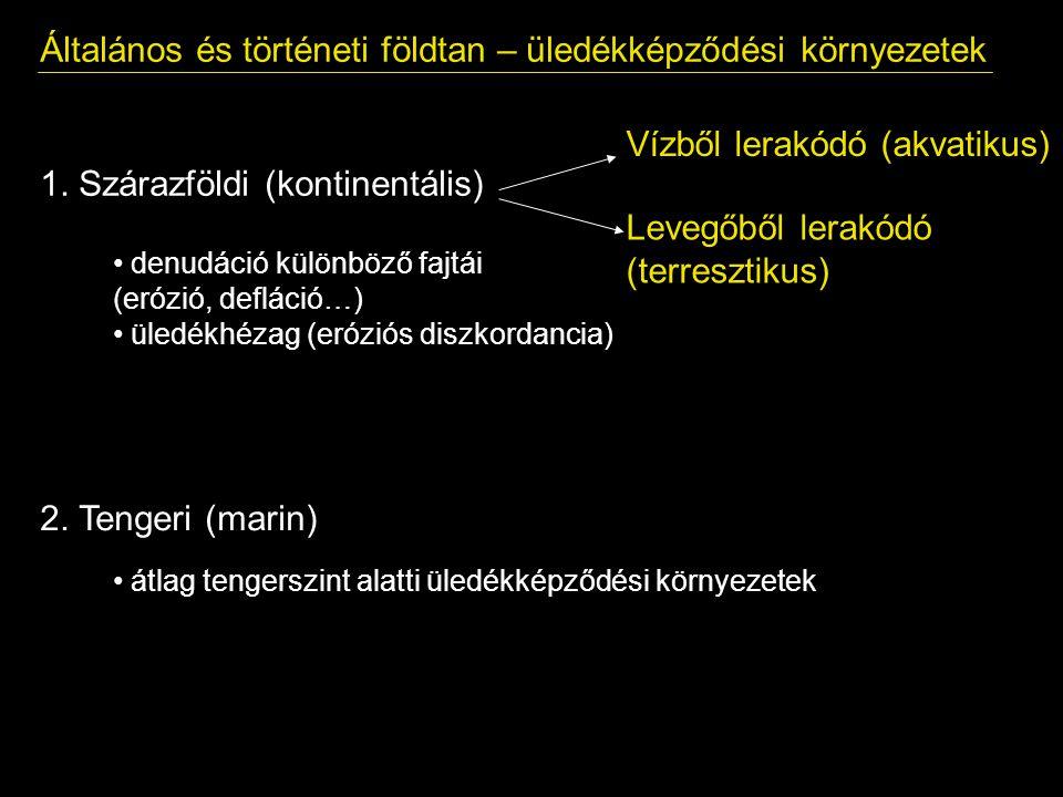 Általános és történeti földtan – üledékképződési környezetek 1. Szárazföldi (kontinentális) Vízből lerakódó (akvatikus) Levegőből lerakódó (terresztik