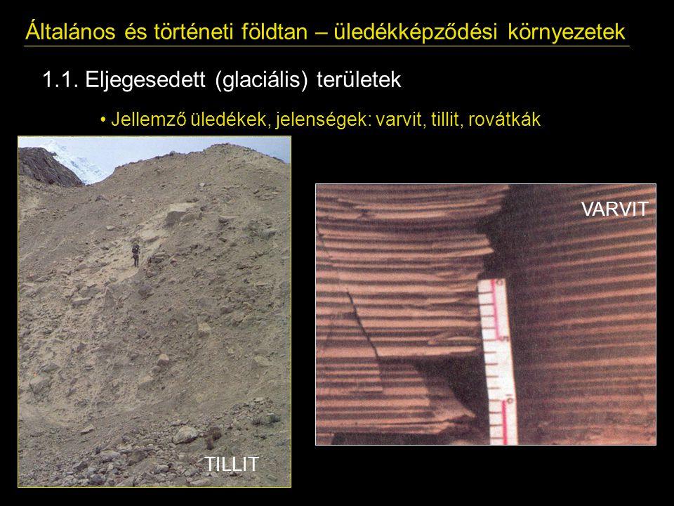 Általános és történeti földtan – üledékképződési környezetek 1.1. Eljegesedett (glaciális) területek Jellemző üledékek, jelenségek: varvit, tillit, ro