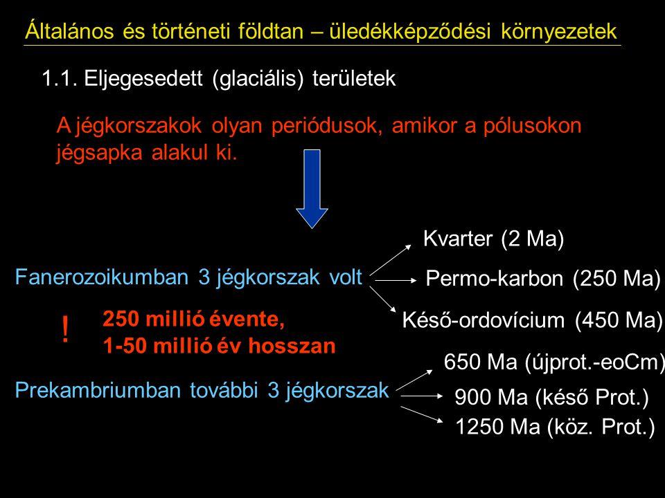 1.1. Eljegesedett (glaciális) területek Általános és történeti földtan – üledékképződési környezetek A jégkorszakok olyan periódusok, amikor a pólusok