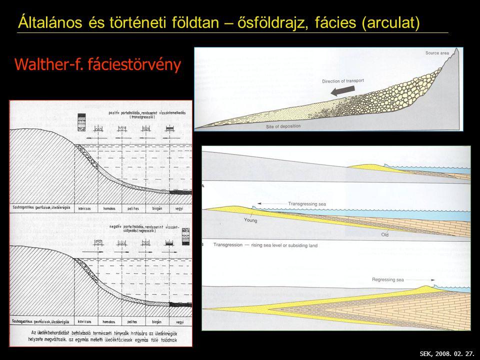 SEK, 2008. 02. 27. Általános és történeti földtan – ősföldrajz, fácies (arculat) Walther-f. fáciestörvény