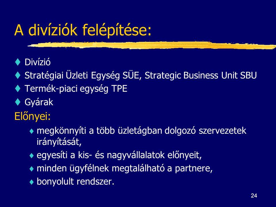 24 A divíziók felépítése: tDivízió tStratégiai Üzleti Egység SÜE, Strategic Business Unit SBU tTermék-piaci egység TPE tGyárak Előnyei:  megkönnyíti