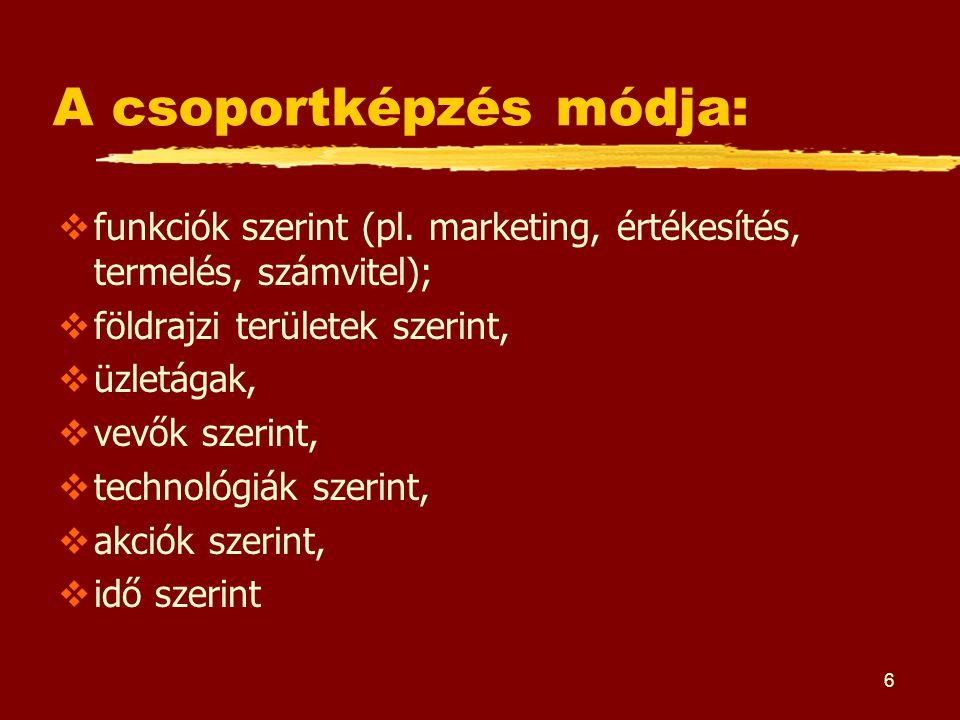 6 A csoportképzés módja:  funkciók szerint (pl. marketing, értékesítés, termelés, számvitel);  földrajzi területek szerint,  üzletágak,  vevők sze