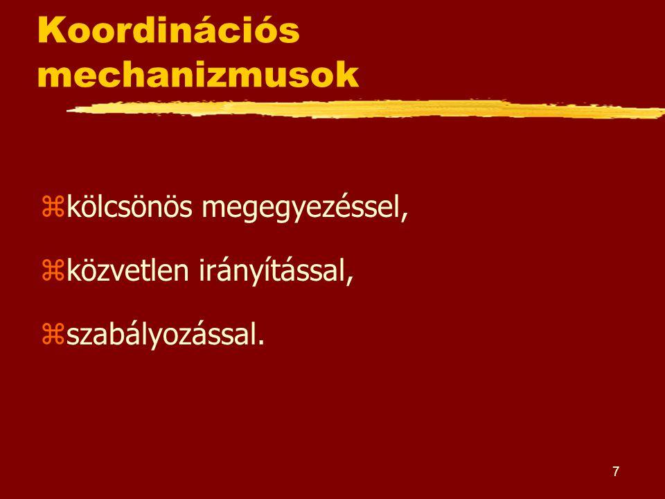 7 Koordinációs mechanizmusok zkölcsönös megegyezéssel, zközvetlen irányítással, zszabályozással.