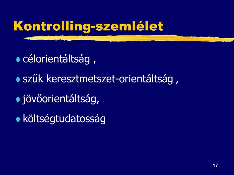 17 Kontrolling-szemlélet  célorientáltság,  szűk keresztmetszet-orientáltság,  jövőorientáltság,  költségtudatosság