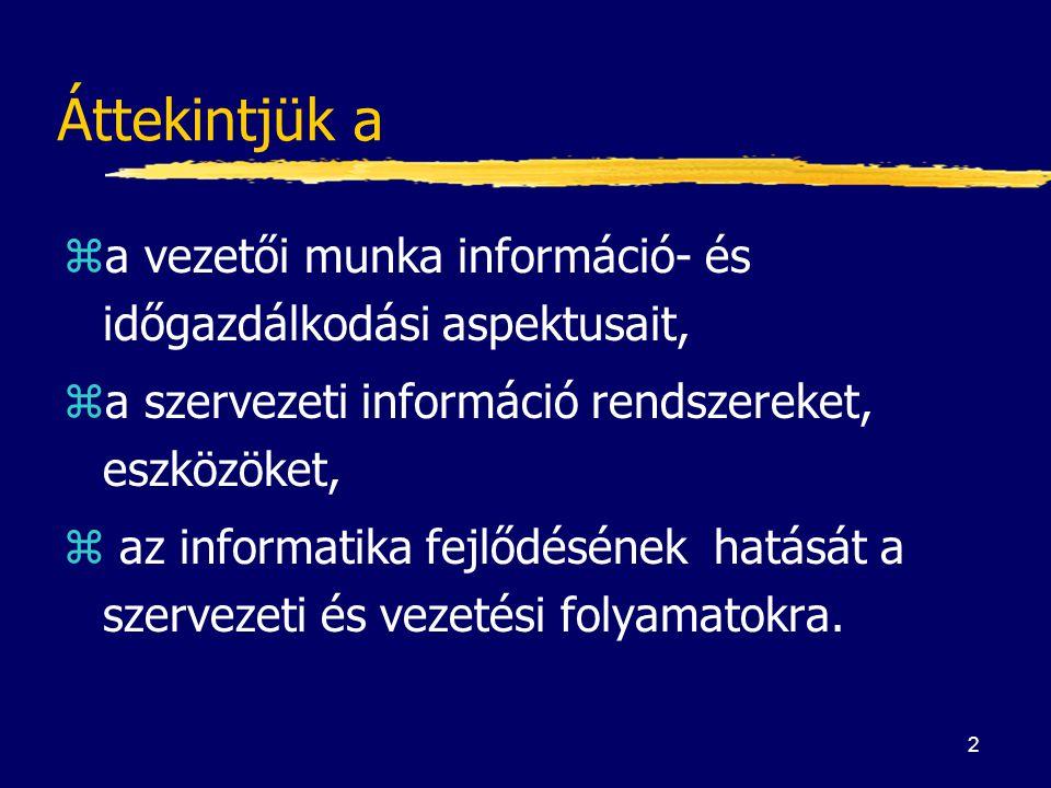2 Áttekintjük a za vezetői munka információ- és időgazdálkodási aspektusait, za szervezeti információ rendszereket, eszközöket, z az informatika fejlő