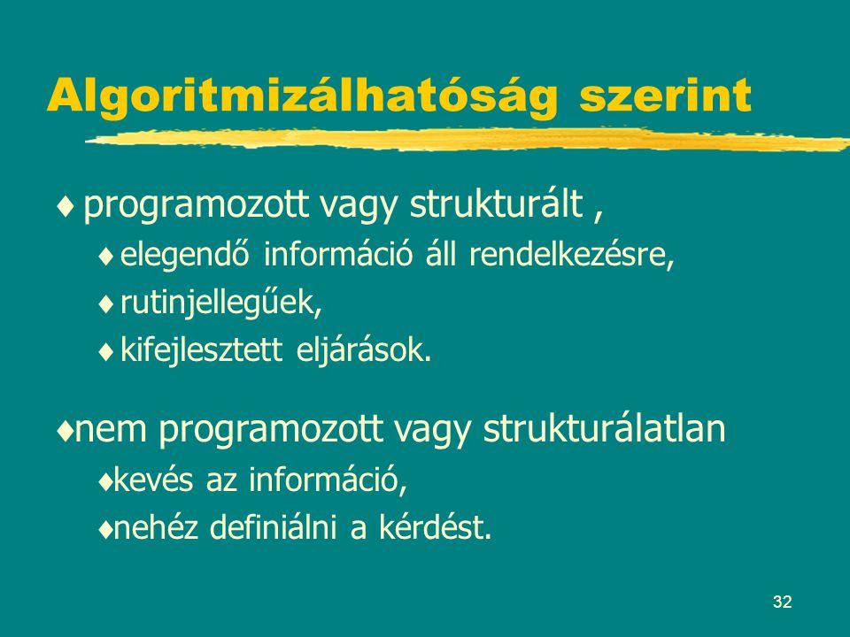 32 Algoritmizálhatóság szerint  programozott vagy strukturált,  elegendő információ áll rendelkezésre,  rutinjellegűek,  kifejlesztett eljárások.