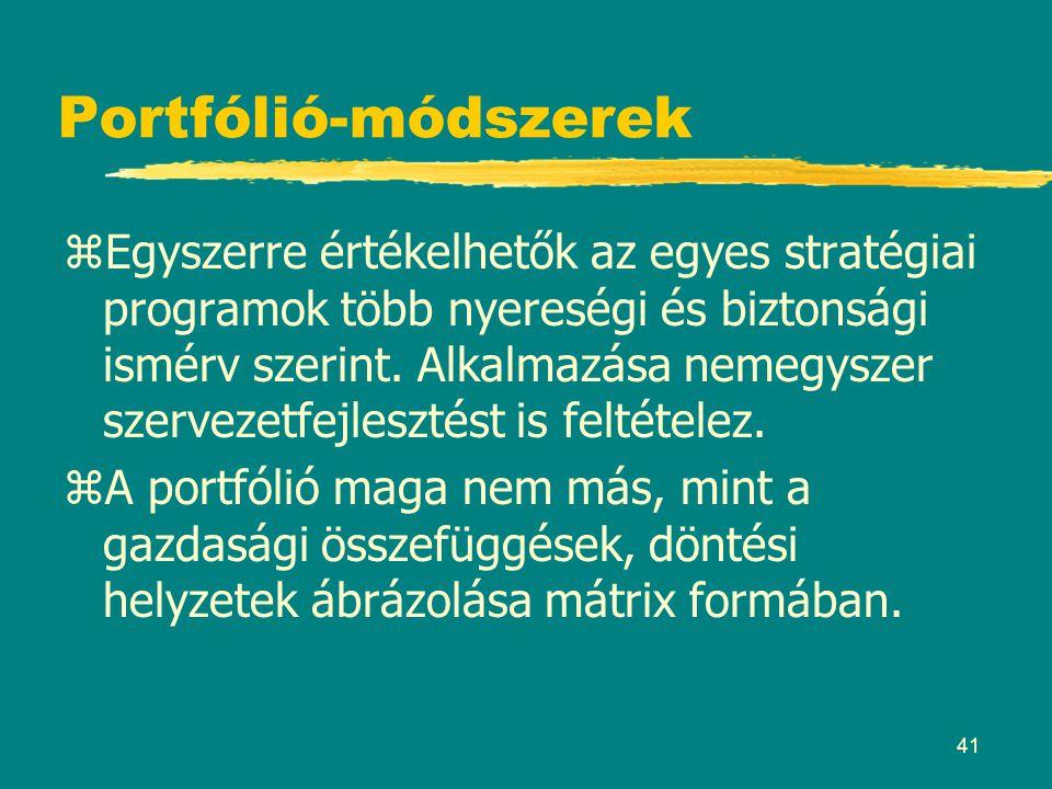 41 Portfólió-módszerek zEgyszerre értékelhetők az egyes stratégiai programok több nyereségi és biztonsági ismérv szerint. Alkalmazása nemegyszer szerv