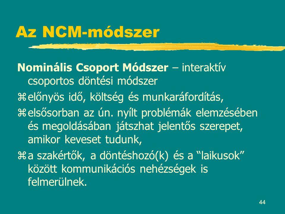 44 Az NCM-módszer Nominális Csoport Módszer – interaktív csoportos döntési módszer zelőnyös idő, költség és munkaráfordítás, zelsősorban az ún. nyílt