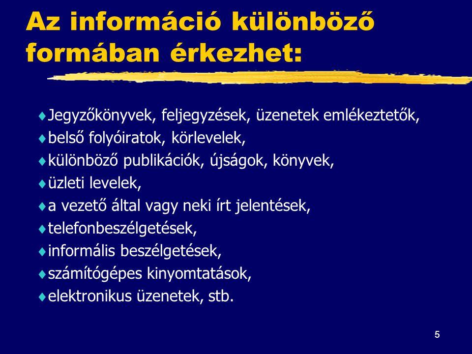 5 Az információ különböző formában érkezhet:  Jegyzőkönyvek, feljegyzések, üzenetek emlékeztetők,  belső folyóiratok, körlevelek,  különböző publik