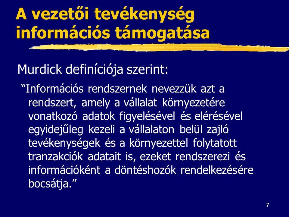 """7 A vezetői tevékenység információs támogatása Murdick definíciója szerint: """"Információs rendszernek nevezzük azt a rendszert, amely a vállalat környe"""