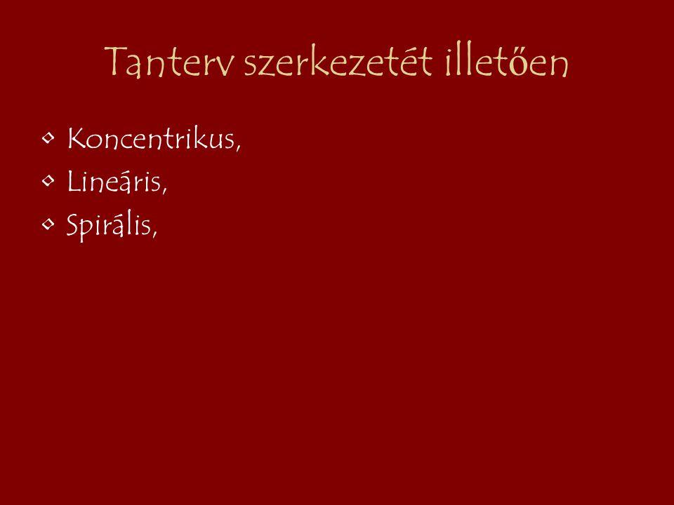 Tanterv szerkezetét illet ő en Koncentrikus, Lineáris, Spirális,