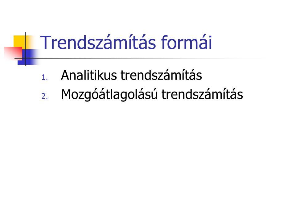 Trendszámítás formái 1. Analitikus trendszámítás 2. Mozgóátlagolású trendszámítás