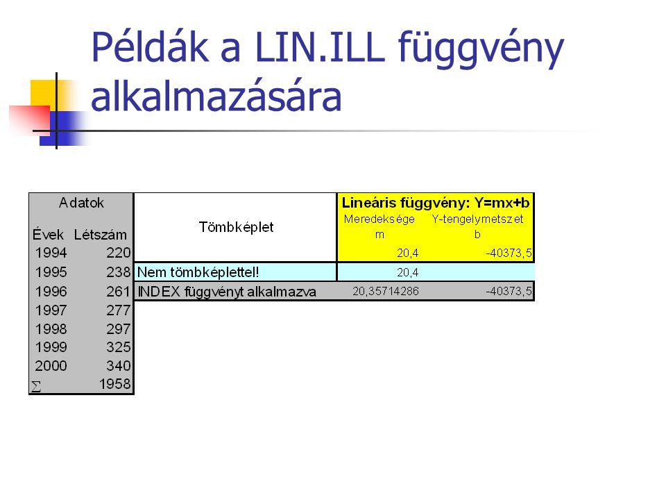 Példák a LIN.ILL függvény alkalmazására