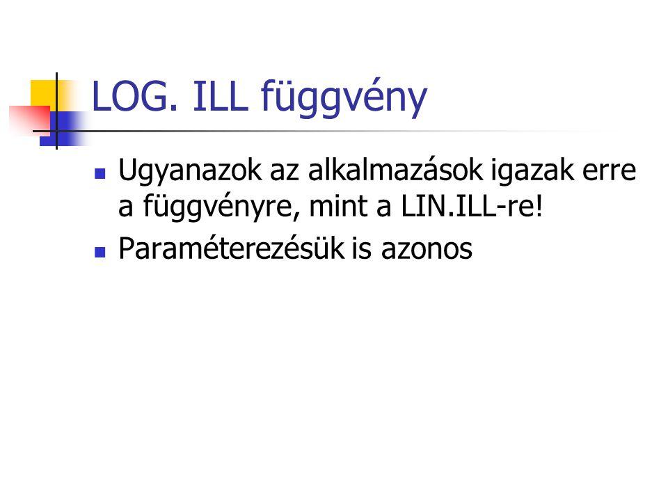 LOG. ILL függvény Ugyanazok az alkalmazások igazak erre a függvényre, mint a LIN.ILL-re! Paraméterezésük is azonos