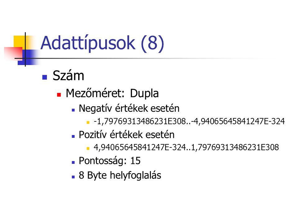 Adattípusok (8) Szám Mezőméret: Dupla Negatív értékek esetén -1,79769313486231E308..-4,94065645841247E-324 Pozitív értékek esetén 4,94065645841247E-324..1,79769313486231E308 Pontosság: 15 8 Byte helyfoglalás