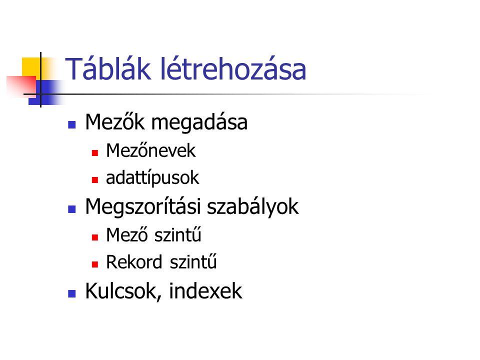 Táblák létrehozása Mezők megadása Mezőnevek adattípusok Megszorítási szabályok Mező szintű Rekord szintű Kulcsok, indexek