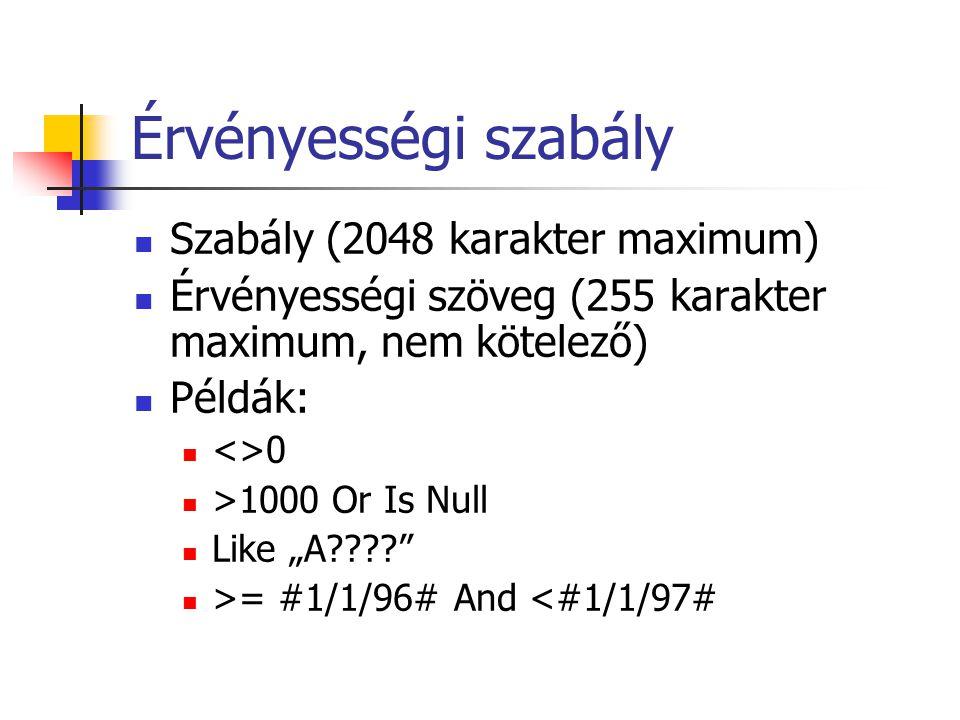 """Érvényességi szabály Szabály (2048 karakter maximum) Érvényességi szöveg (255 karakter maximum, nem kötelező) Példák: <>0 >1000 Or Is Null Like """"A???? >= #1/1/96# And <#1/1/97#"""