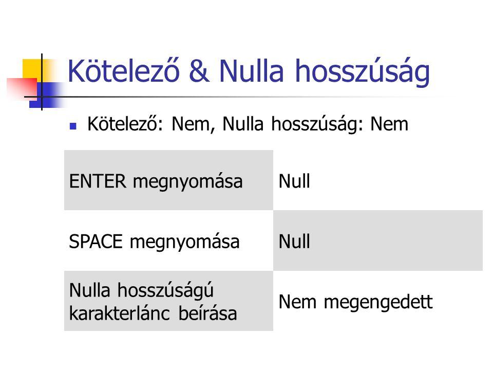 Kötelező & Nulla hosszúság Kötelező: Nem, Nulla hosszúság: Nem ENTER megnyomásaNull SPACE megnyomásaNull Nulla hosszúságú karakterlánc beírása Nem megengedett