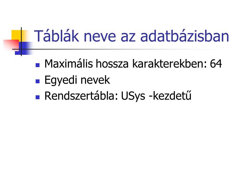 Táblák neve az adatbázisban Maximális hossza karakterekben: 64 Egyedi nevek Rendszertábla: USys -kezdetű