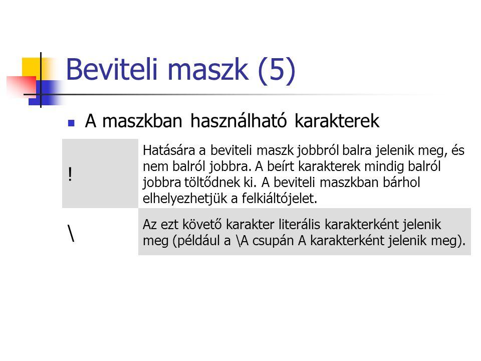 Beviteli maszk (5) A maszkban használható karakterek .