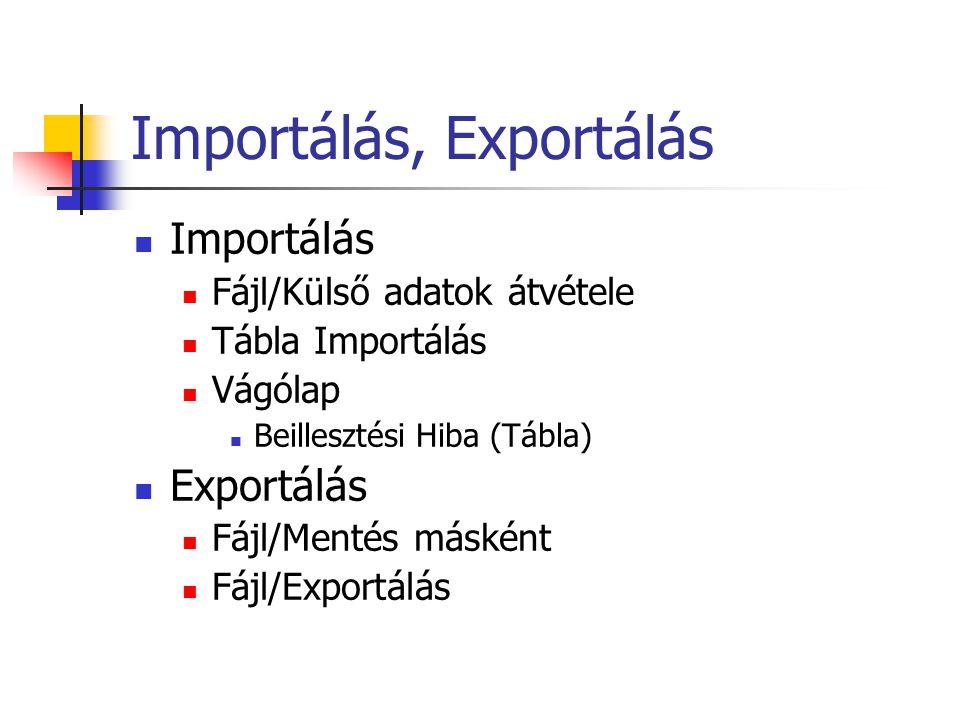 Importálás, Exportálás Importálás Fájl/Külső adatok átvétele Tábla Importálás Vágólap Beillesztési Hiba (Tábla) Exportálás Fájl/Mentés másként Fájl/Exportálás