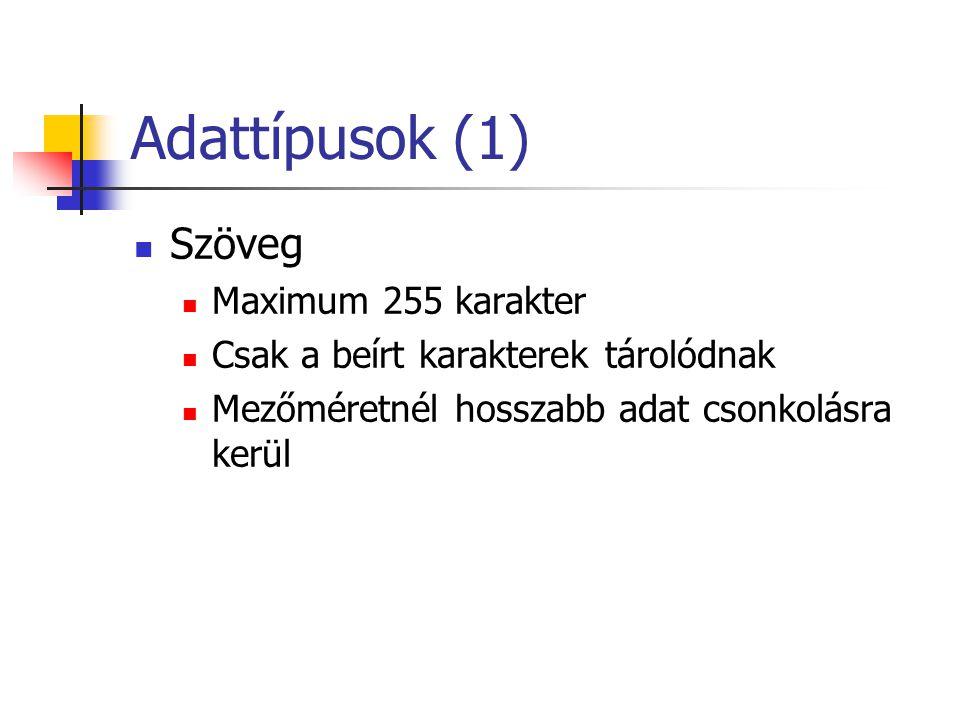 Adattípusok (1) Szöveg Maximum 255 karakter Csak a beírt karakterek tárolódnak Mezőméretnél hosszabb adat csonkolásra kerül