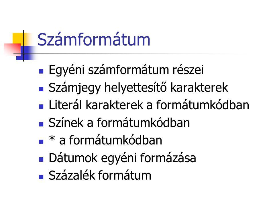 Számformátum Egyéni számformátum részei Számjegy helyettesítő karakterek Literál karakterek a formátumkódban Színek a formátumkódban * a formátumkódba
