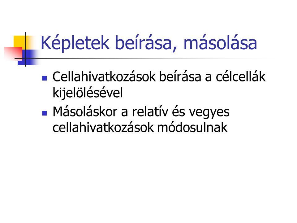 Képletek beírása, másolása Cellahivatkozások beírása a célcellák kijelölésével Másoláskor a relatív és vegyes cellahivatkozások módosulnak