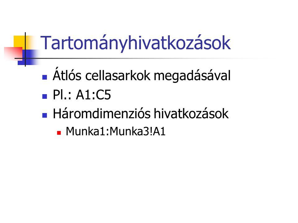 Tartományhivatkozások Átlós cellasarkok megadásával Pl.: A1:C5 Háromdimenziós hivatkozások Munka1:Munka3!A1