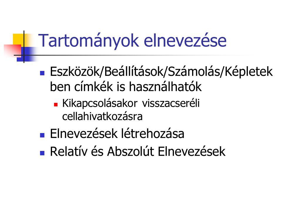 Tartományok elnevezése Eszközök/Beállítások/Számolás/Képletek ben címkék is használhatók Kikapcsolásakor visszacseréli cellahivatkozásra Elnevezések l