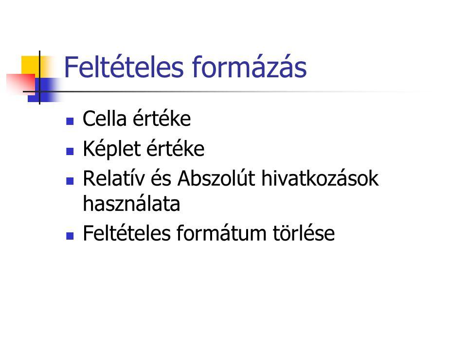Feltételes formázás Cella értéke Képlet értéke Relatív és Abszolút hivatkozások használata Feltételes formátum törlése